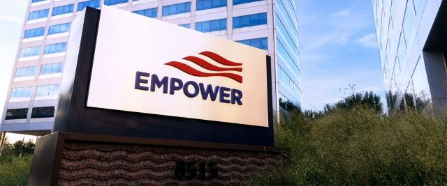Empower Retirement logo sign at headquarters building